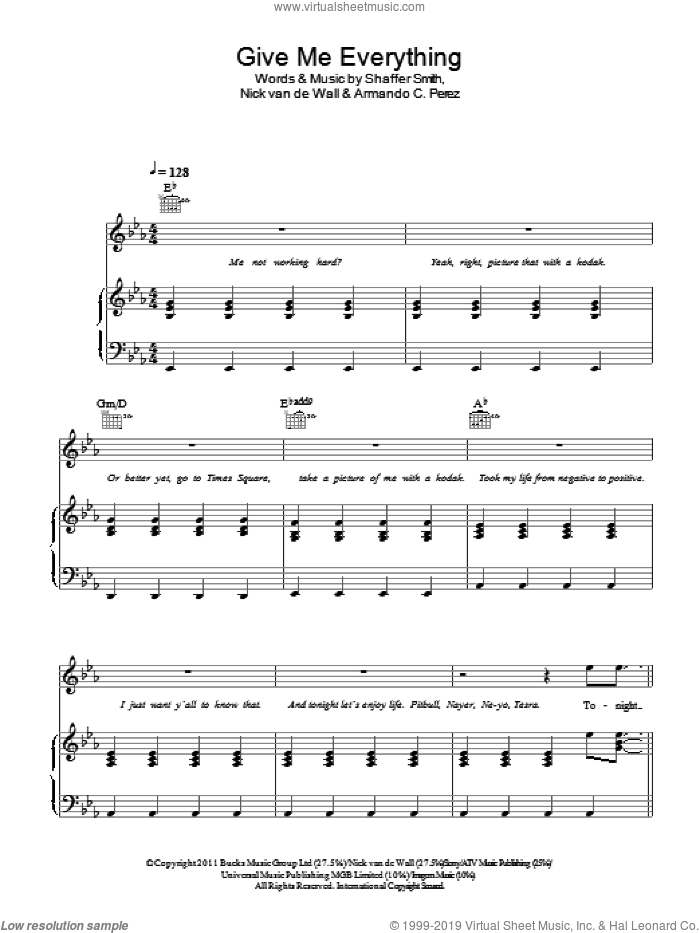 Give Me Everything (Tonight) sheet music for voice, piano or guitar by Shaffer Smith and Nick van de Wall. Score Image Preview.