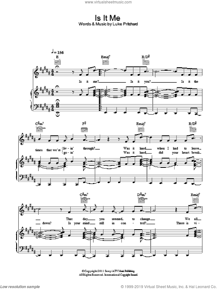 Is It Me sheet music for voice, piano or guitar by The Kooks and Luke Pritchard, intermediate. Score Image Preview.