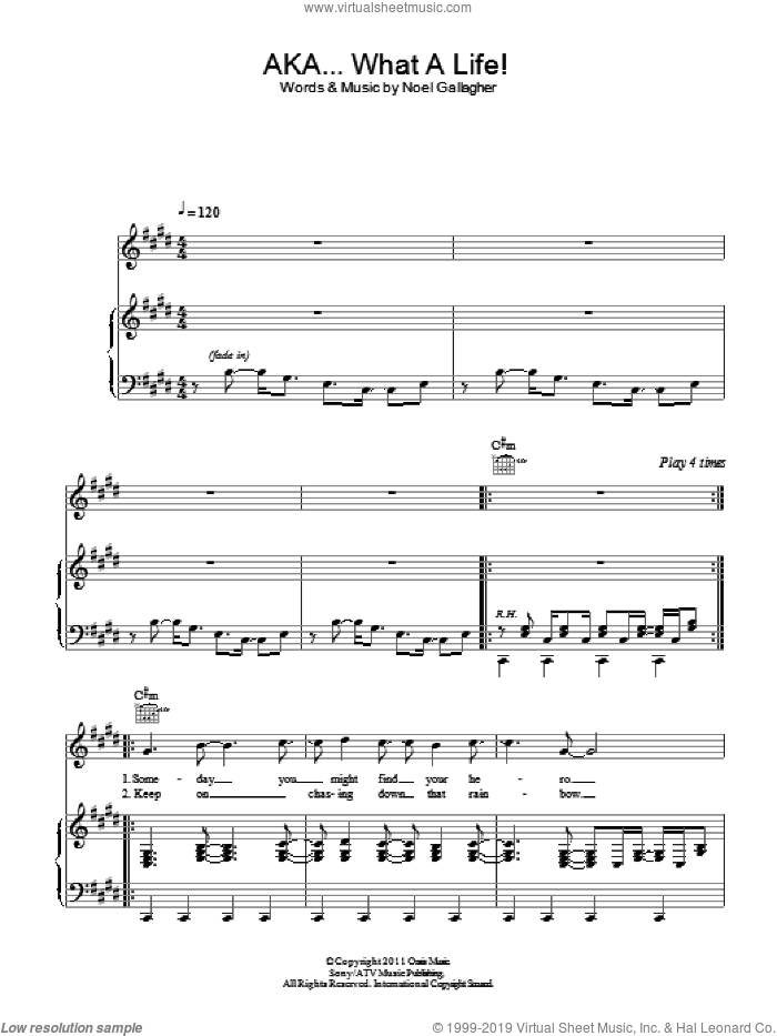 AKA... What A Life! sheet music for voice, piano or guitar by Noel Gallagher, intermediate skill level