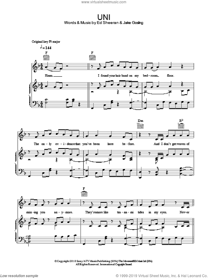 U.N.I sheet music for voice, piano or guitar by Jake Gosling and Ed Sheeran. Score Image Preview.