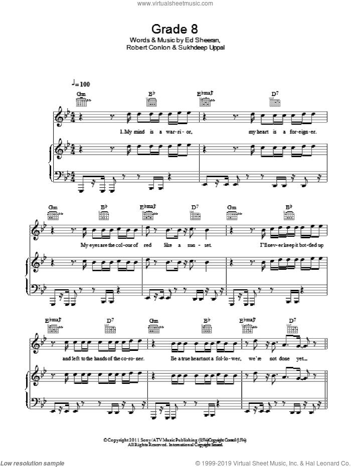 Grade 8 sheet music for voice, piano or guitar by Ed Sheeran, Robert Conlon and Sukhdeep Uppal, intermediate skill level
