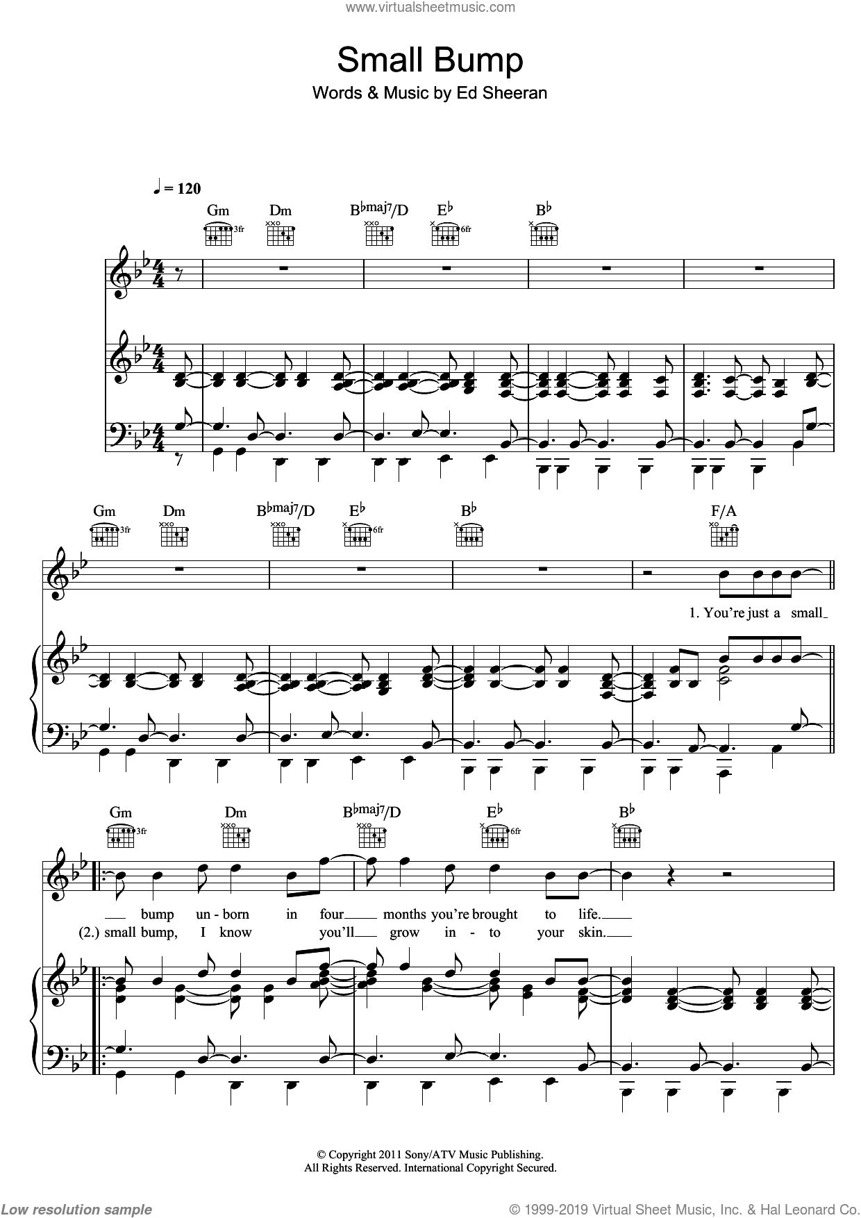 Small Bump sheet music for voice, piano or guitar by Ed Sheeran. Score Image Preview.