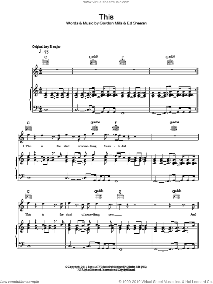 This sheet music for voice, piano or guitar by Ed Sheeran and Gordon Mills, intermediate skill level