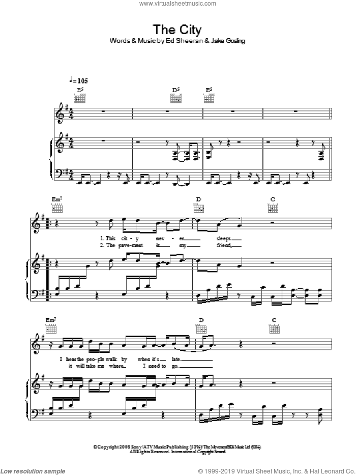 The City sheet music for voice, piano or guitar by Ed Sheeran and Jake Gosling, intermediate skill level