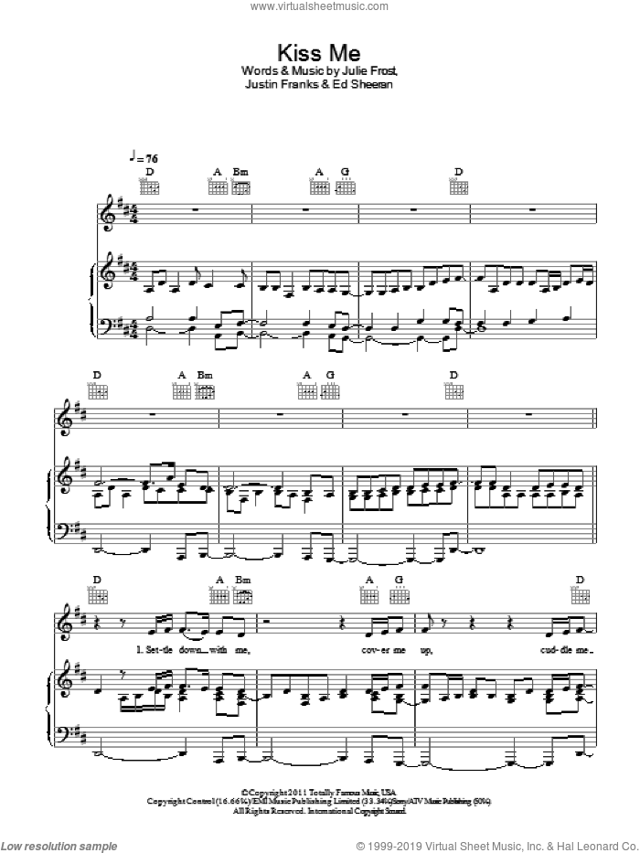 Kiss Me sheet music for voice, piano or guitar by Ed Sheeran, Julie Frost and Justin Franks, intermediate skill level