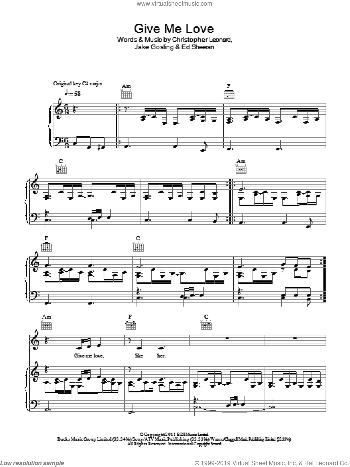 Give Me Love sheet music for voice, piano or guitar by Ed Sheeran, Christopher Leonard and Jake Gosling, intermediate skill level