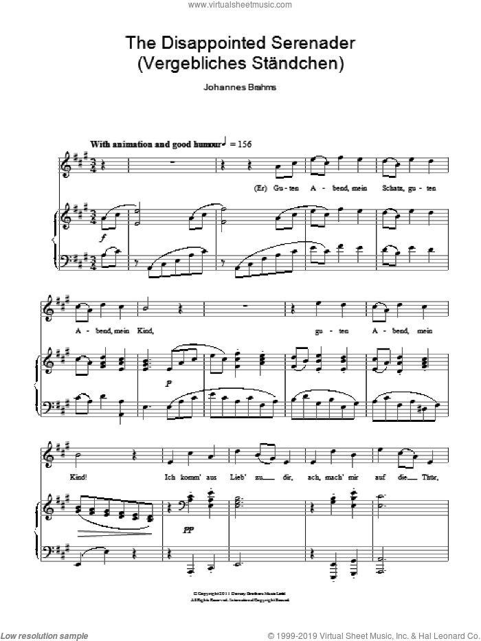 The Disappointed Serenader sheet music for voice and piano by Johannes Brahms. Score Image Preview.