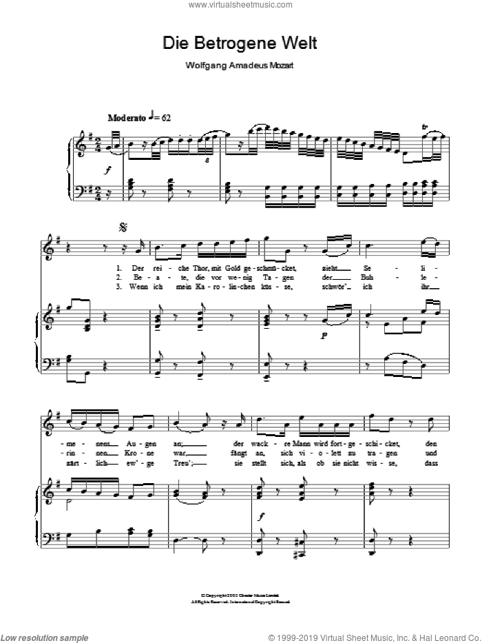 Die Betrogene Welt (The Deceiving World) K.474 sheet music for voice and piano by Wolfgang Amadeus Mozart, classical score, intermediate skill level