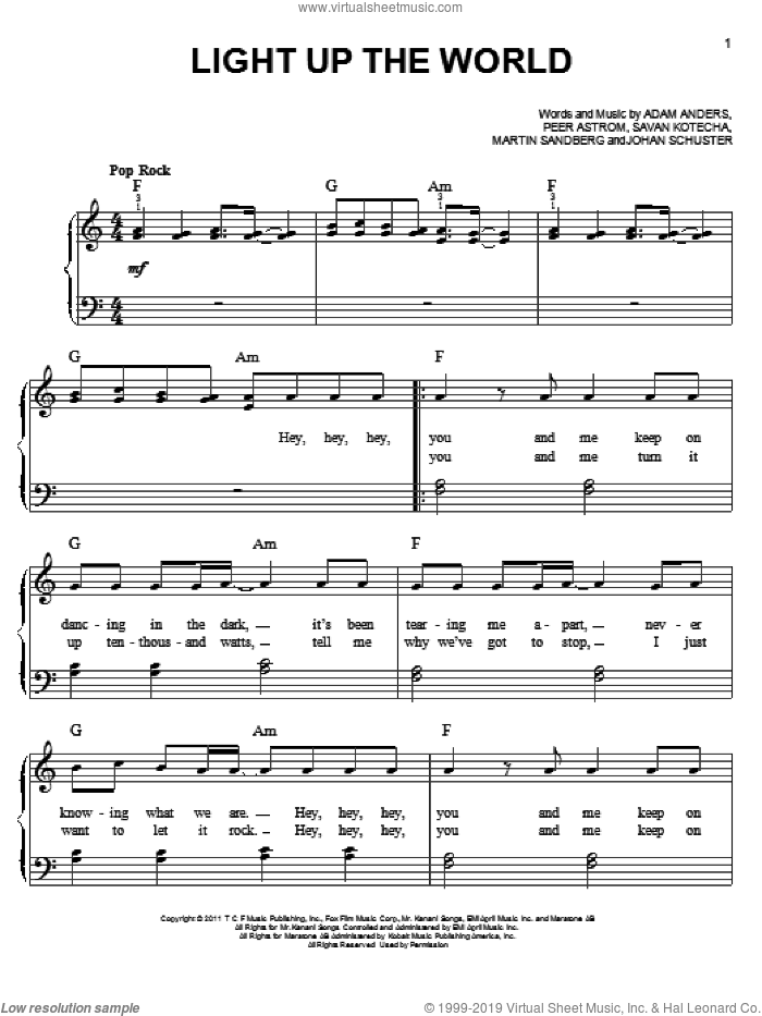 Light Up The World sheet music for piano solo by Glee Cast, Adam Anders, Johan Schuster, Martin Sandberg, Miscellaneous, Peer Astrom and Savan Kotecha, easy