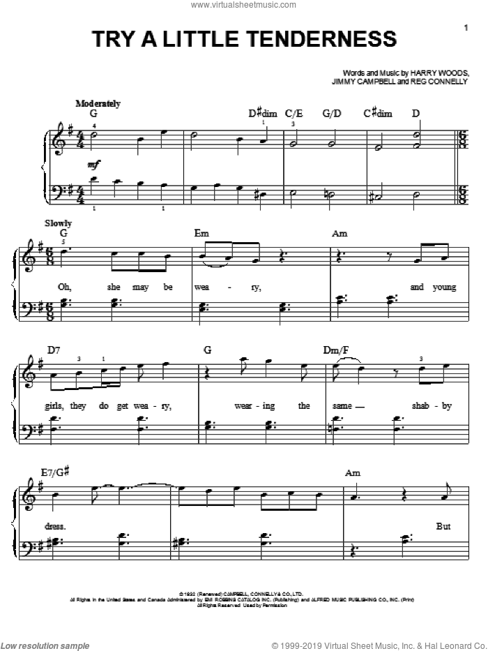 Try A Little Tenderness sheet music for piano solo by Glee Cast, Otis Redding, Harry Woods, Jimmy Campbell, Miscellaneous and Reg Connelly, easy