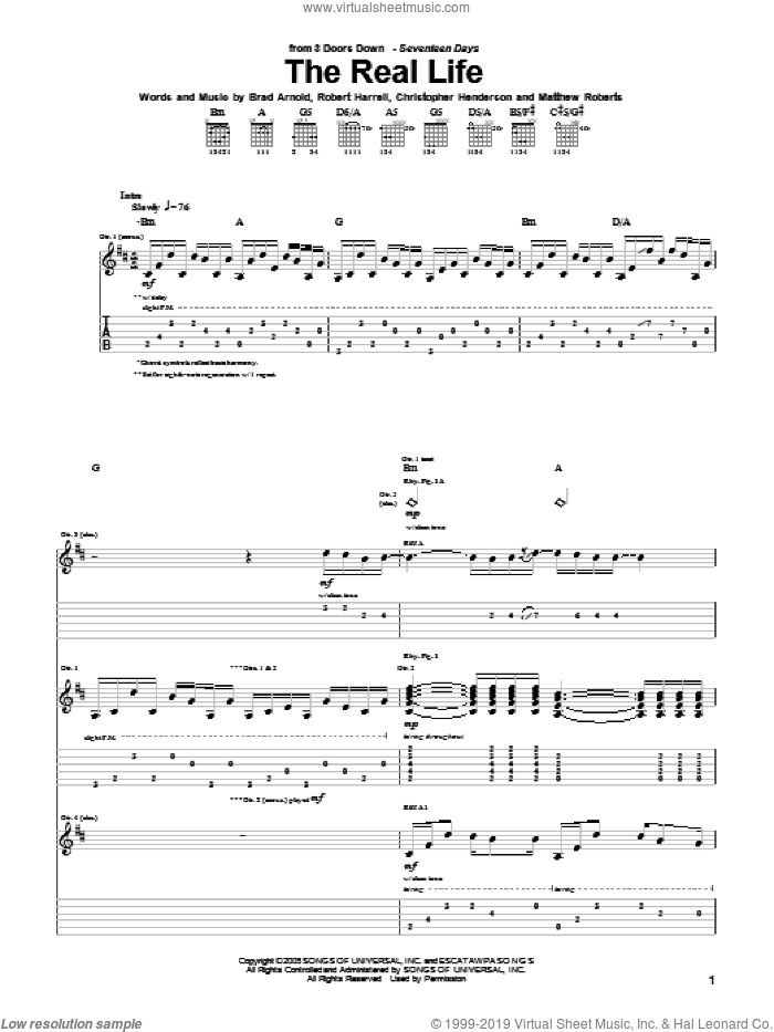 The Real Life sheet music for guitar (tablature) by Robert Harrell and 3 Doors Down. Score Image Preview.