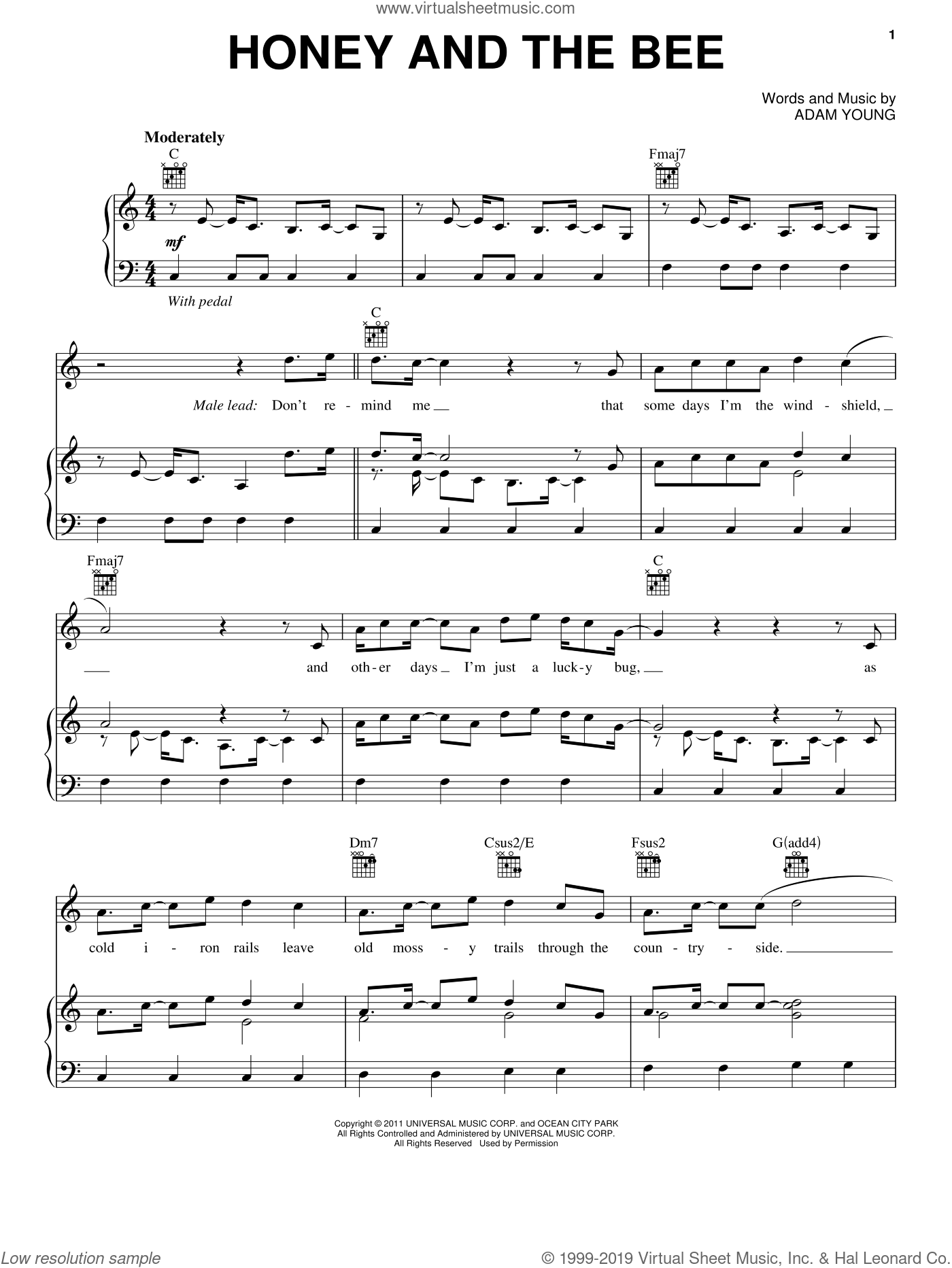 Honey And The Bee sheet music for voice, piano or guitar by Owl City and Adam Young. Score Image Preview.