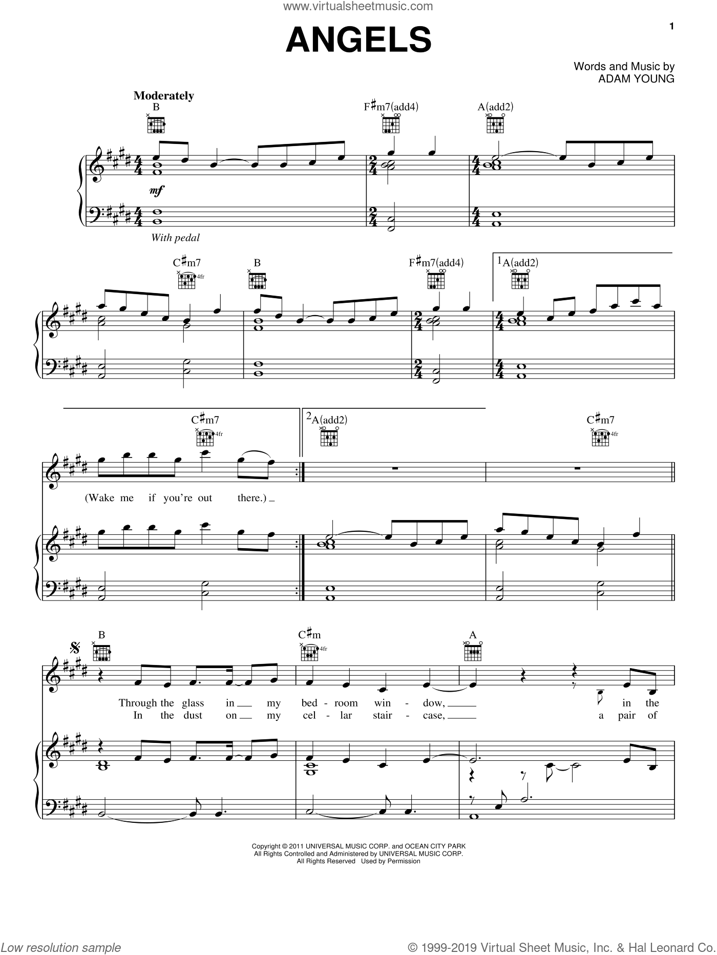 Angels sheet music for voice, piano or guitar by Adam Young and Owl City. Score Image Preview.
