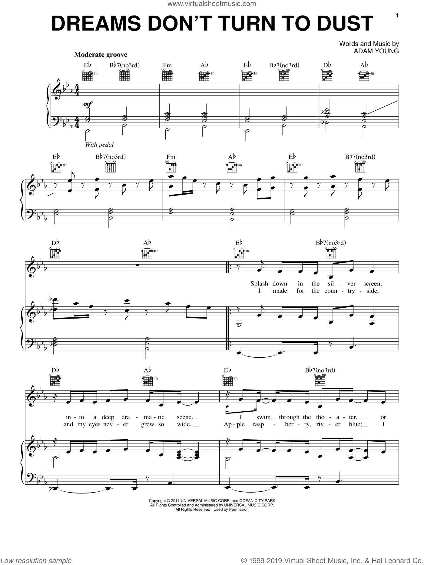 Dreams Don't Turn To Dust sheet music for voice, piano or guitar by Owl City and Adam Young, intermediate skill level