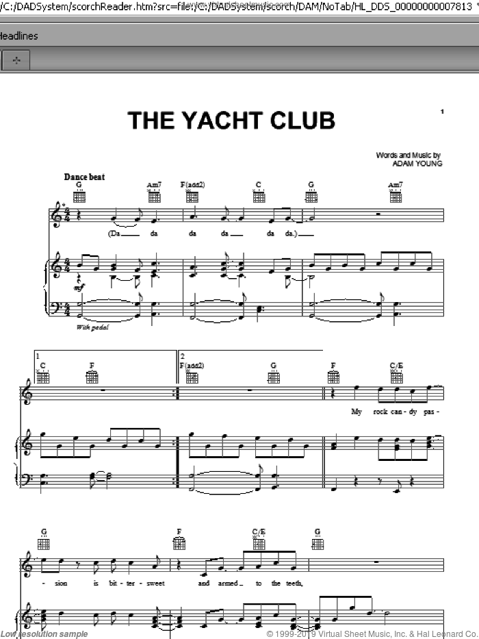 The Yacht Club sheet music for voice, piano or guitar by Adam Young