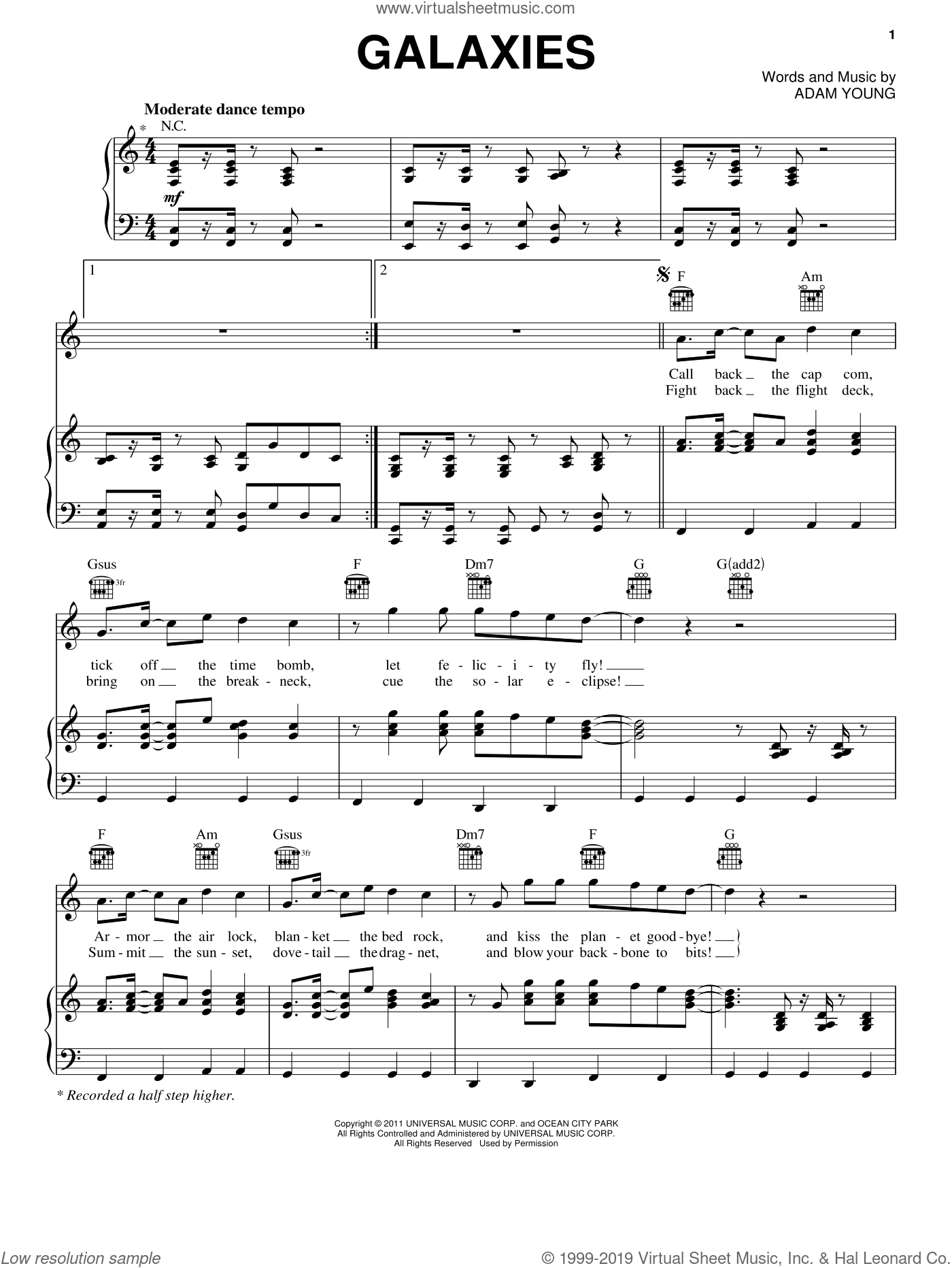 Galaxies sheet music for voice, piano or guitar by Owl City and Adam Young, intermediate skill level