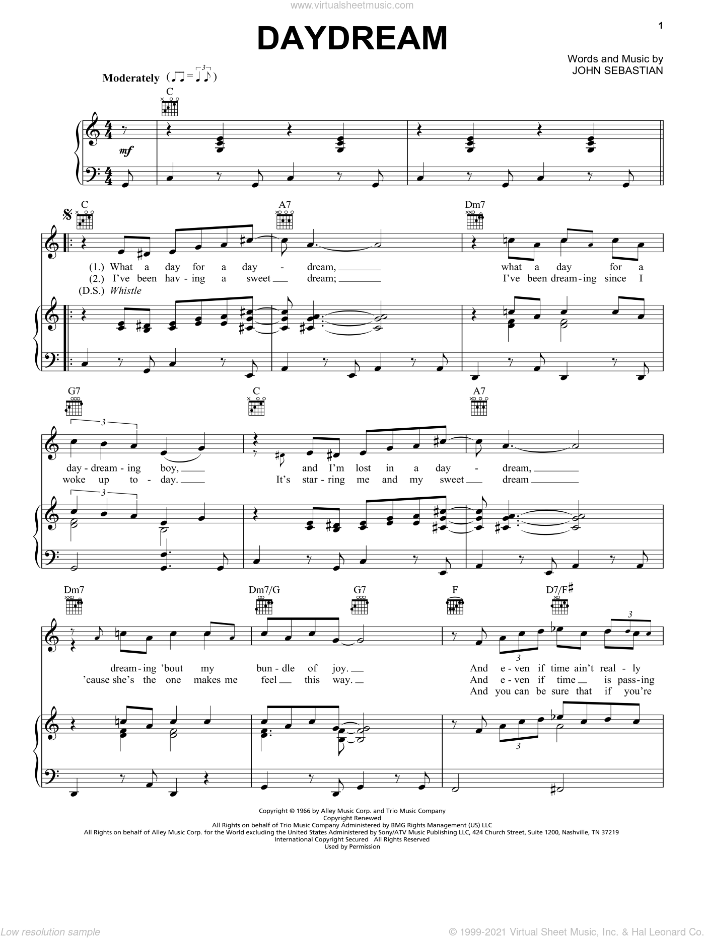 Daydream sheet music for voice, piano or guitar by The Lovin' Spoonful and John Sebastian, intermediate skill level