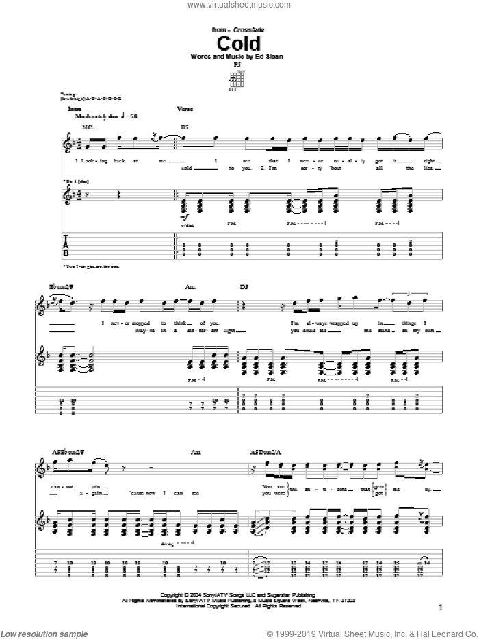 Cold sheet music for guitar (tablature) by Crossfade, intermediate. Score Image Preview.
