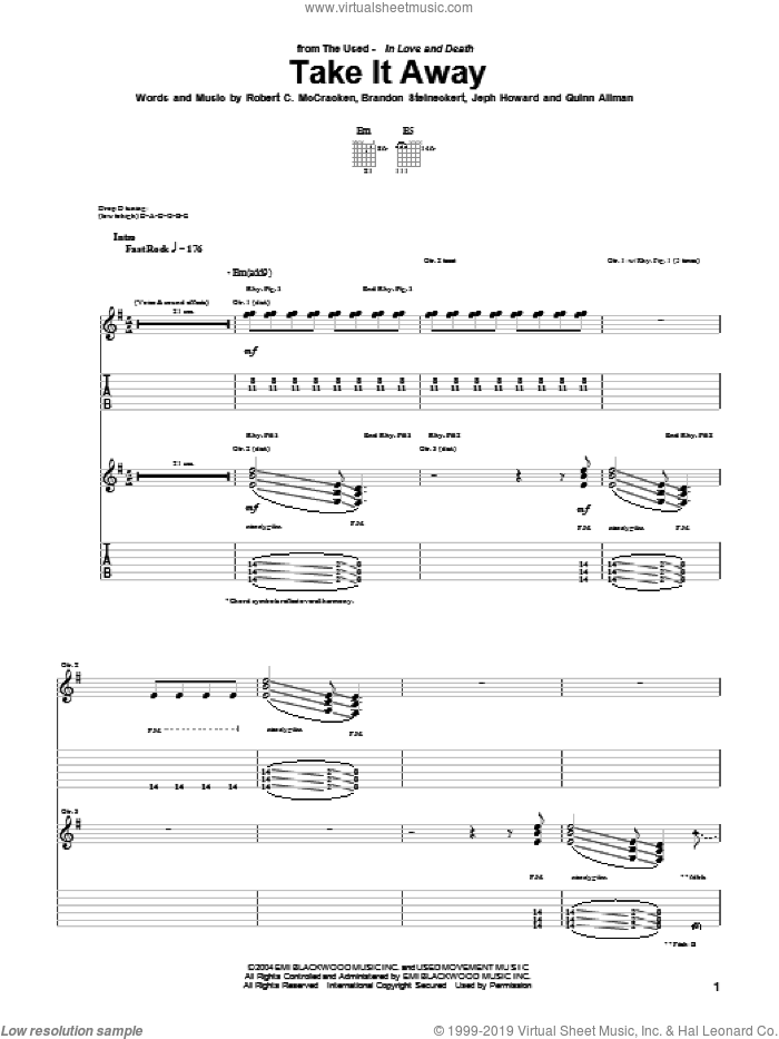 Take It Away sheet music for guitar (tablature) by Robert C. McCracken. Score Image Preview.