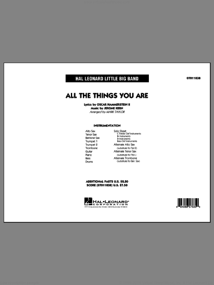 All The Things You Are (COMPLETE) sheet music for jazz band by Oscar II Hammerstein, Jerome Kern and Mark Taylor, intermediate skill level