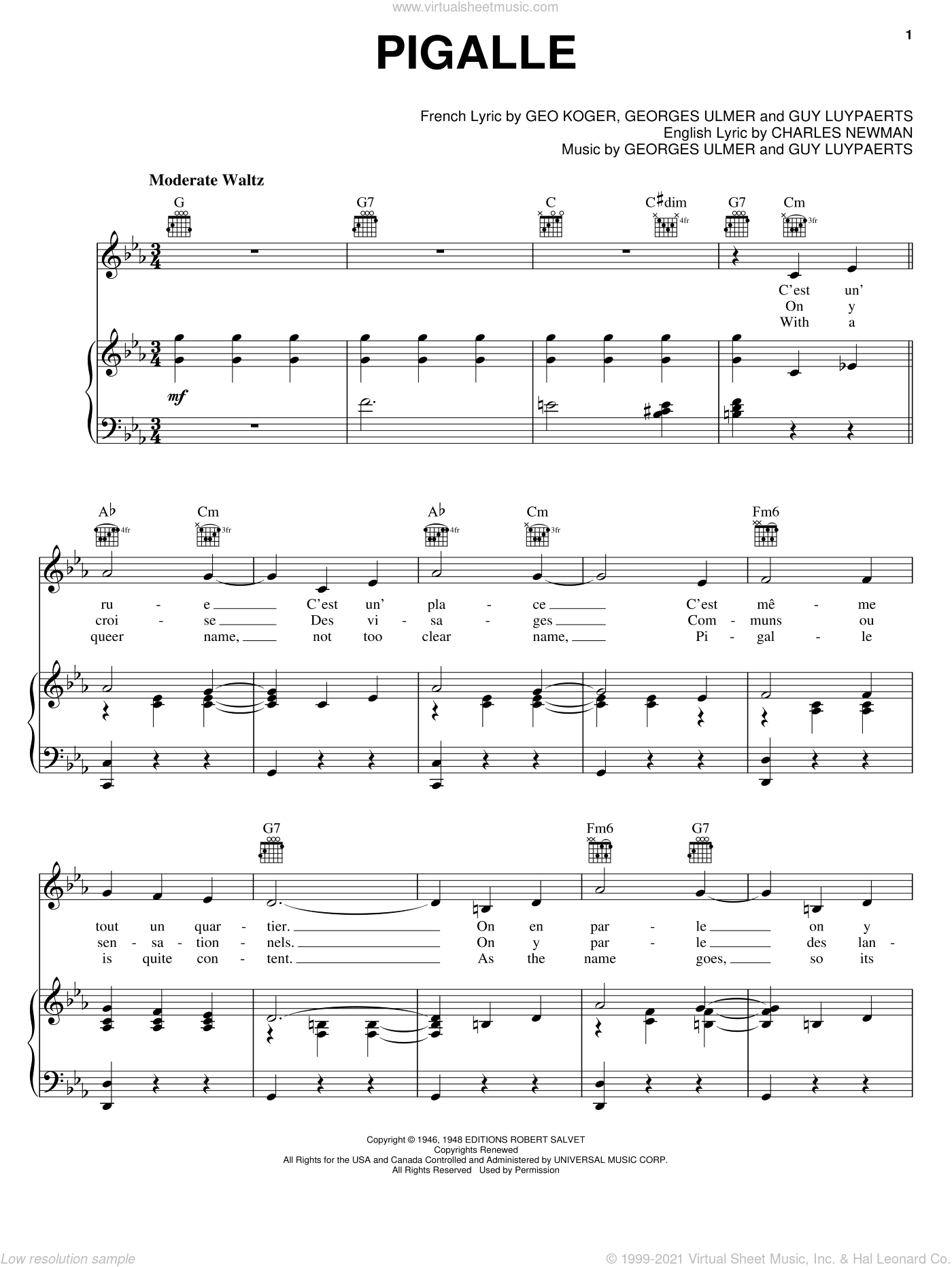 Pigalle sheet music for voice, piano or guitar by Guy Luypaerts and Charles Newman. Score Image Preview.