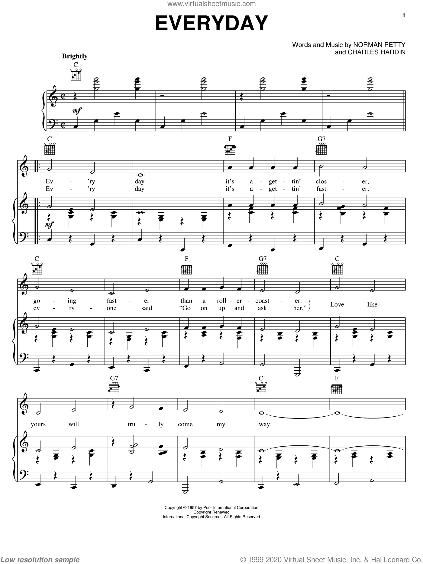 Everyday sheet music for voice, piano or guitar by Buddy Holly, Charles Hardin and Norman Petty, intermediate skill level