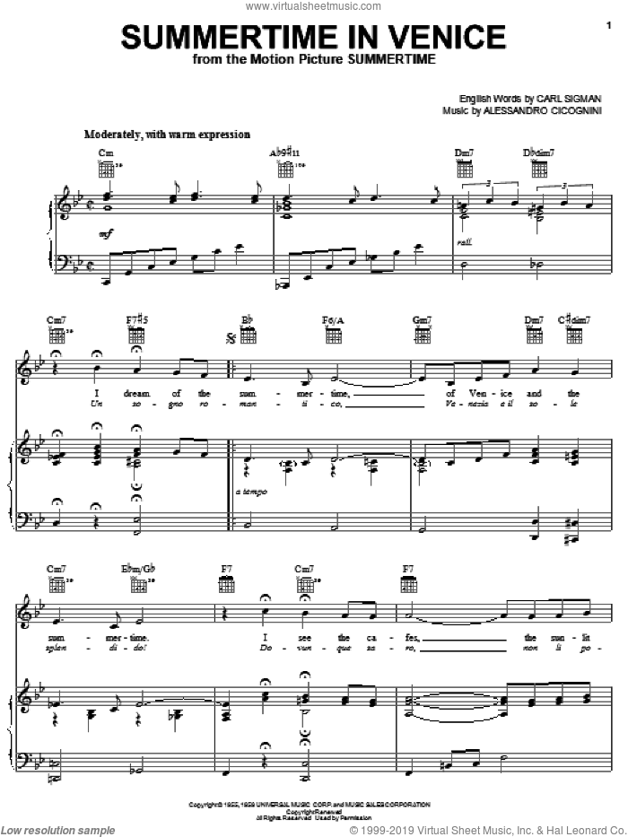 Summertime In Venice sheet music for voice, piano or guitar by Icini