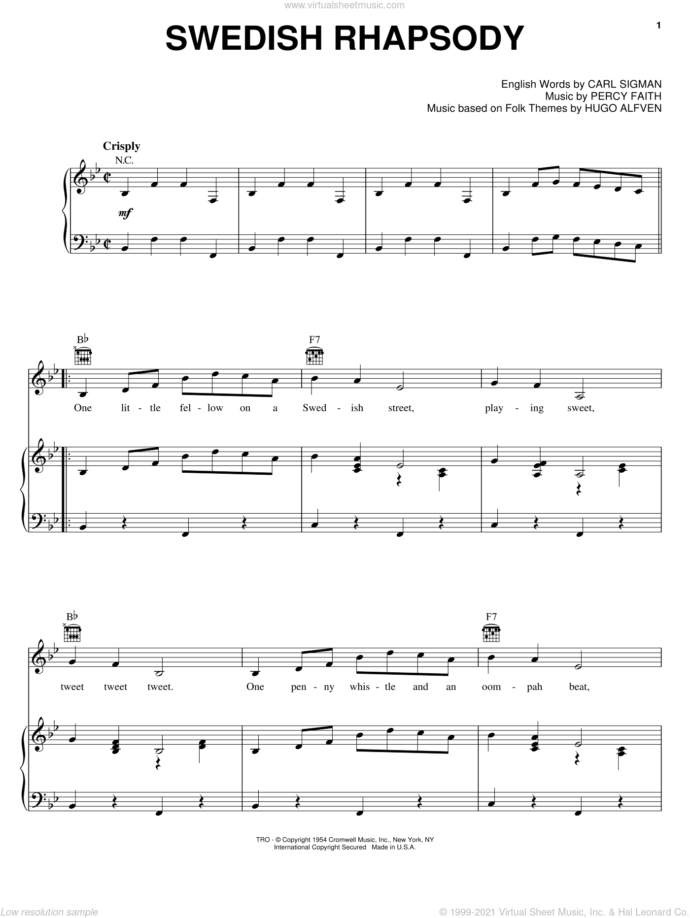 Swedish Rhapsody sheet music for voice, piano or guitar by Carl Sigman, Chet Atkins and Percy Faith. Score Image Preview.