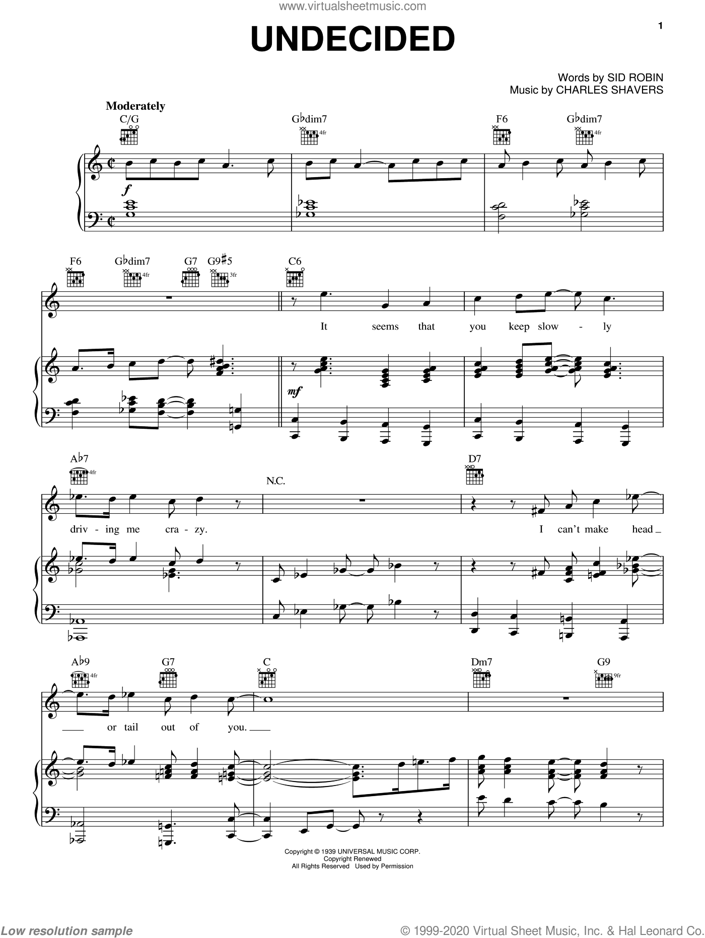 Undecided sheet music for voice, piano or guitar by Ella Fitzgerald, Chick Webb, Erroll Garner, Louis Armstrong, Charles Shavers and Sid Robin, intermediate skill level