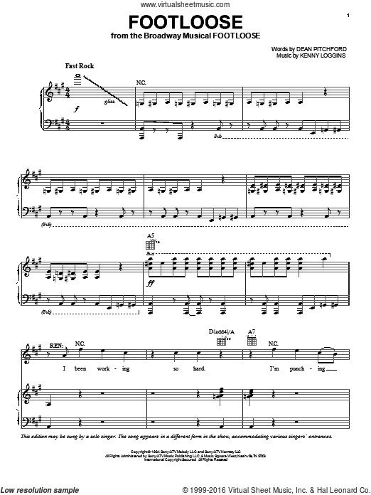 Footloose sheet music for voice, piano or guitar by Dean Pitchford and Kenny Loggins. Score Image Preview.