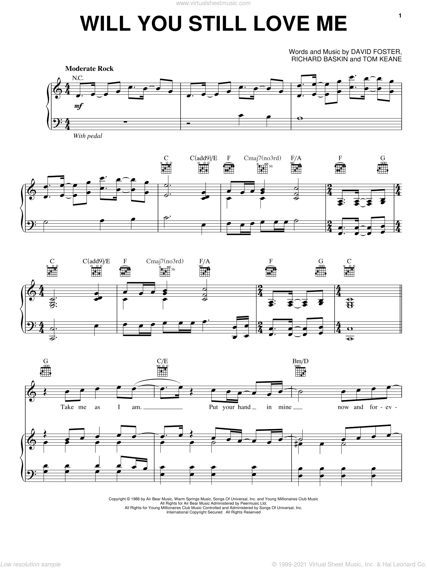 Will You Still Love Me sheet music for voice, piano or guitar by Chicago, David Foster, Richard Baskin and Tom Keane, intermediate skill level