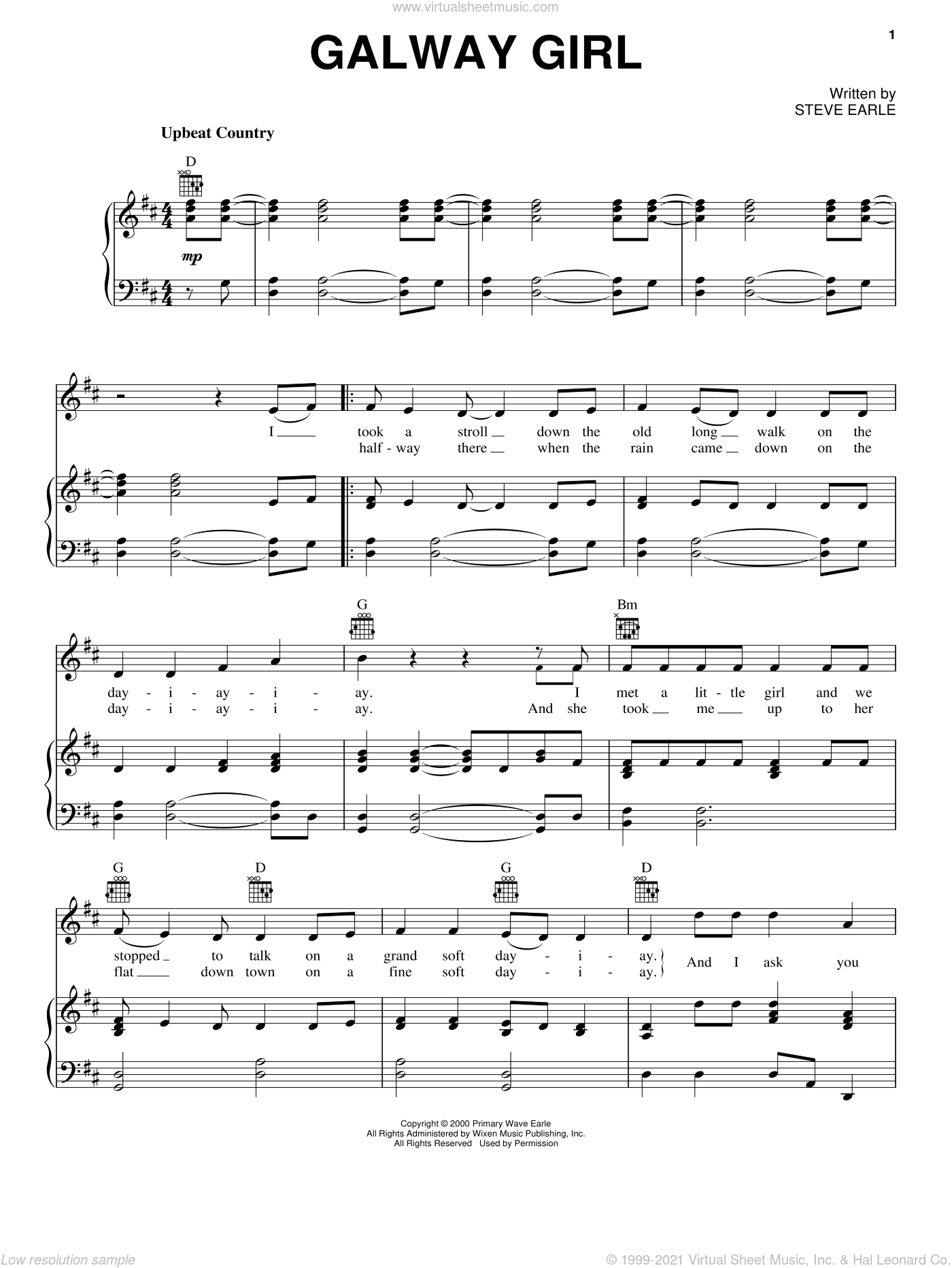 Galway Girl sheet music for voice, piano or guitar by Steve Earle