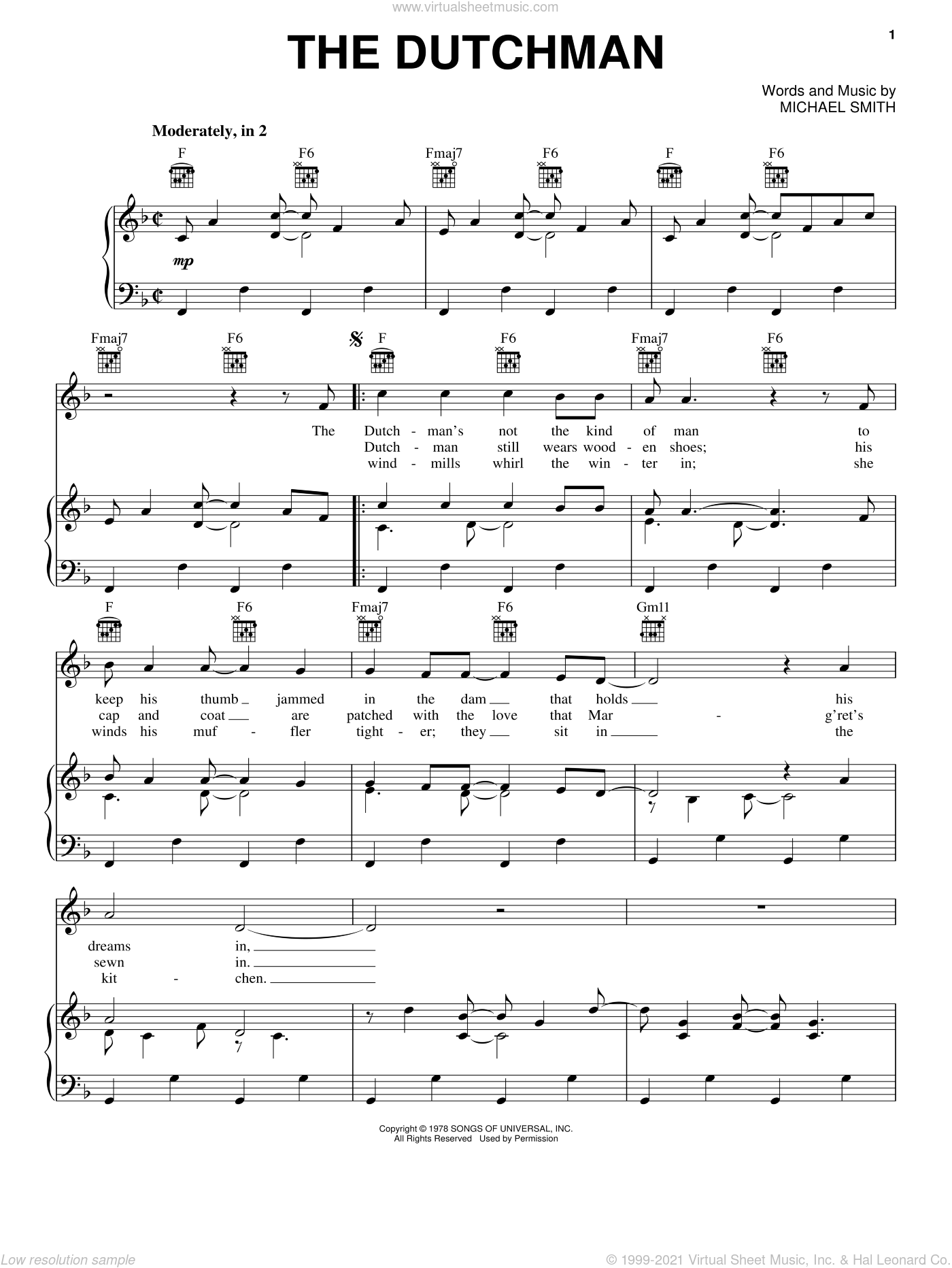 The Dutchman sheet music for voice, piano or guitar by Celtic Thunder and Michael W. Smith, intermediate skill level