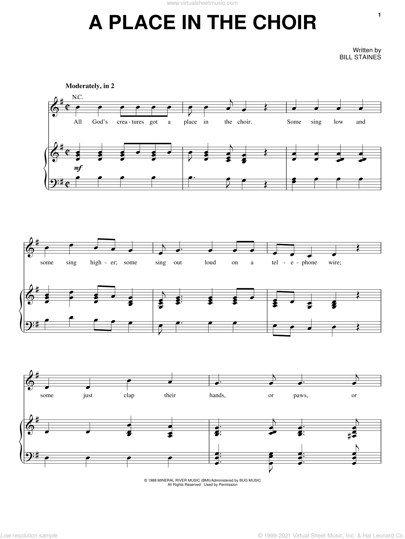 A Place In The Choir sheet music for voice, piano or guitar by Bill Staines