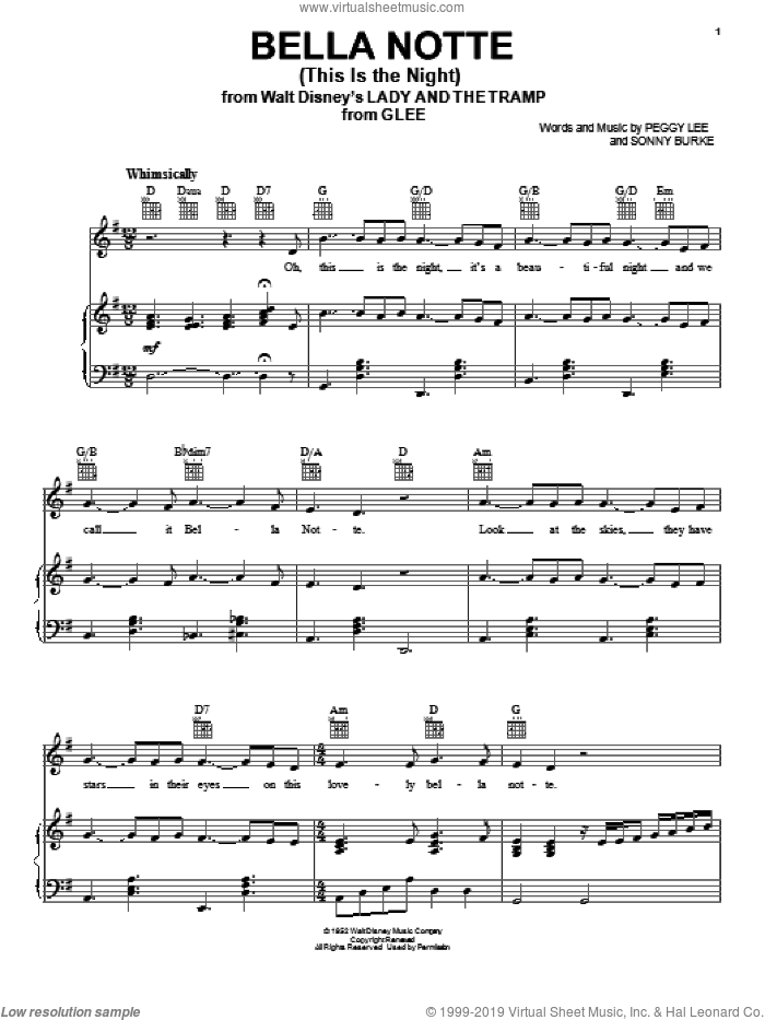 Bella Notte (This Is The Night) sheet music for voice, piano or guitar by Glee Cast, Miscellaneous, Peggy Lee and Sonny Burke, intermediate skill level