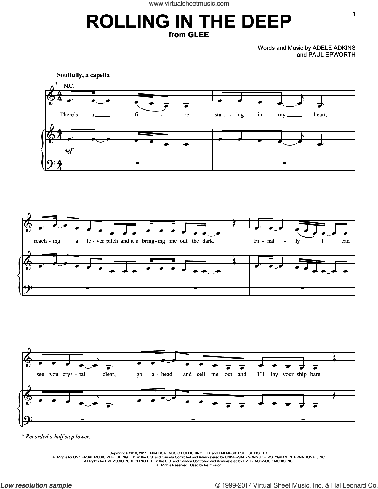 Rolling In The Deep sheet music for voice, piano or guitar by Glee Cast, Adele, Jonathan Groff, Adele Adkins, Miscellaneous and Paul Epworth, intermediate skill level