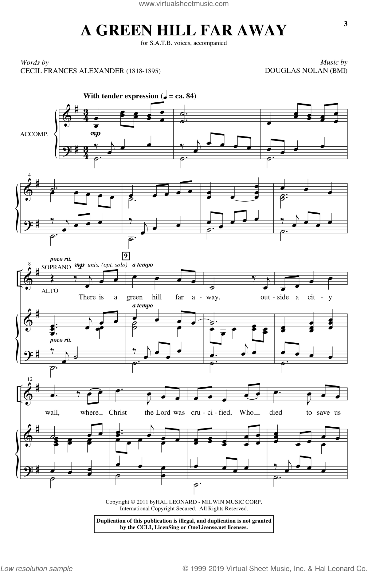 A Green Hill Far Away sheet music for choir and piano (SATB) by Cecil Alexander