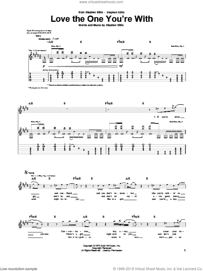 Love The One You're With sheet music for guitar (tablature) by Stephen Stills, Crosby, Stills & Nash and The Isley Brothers. Score Image Preview.
