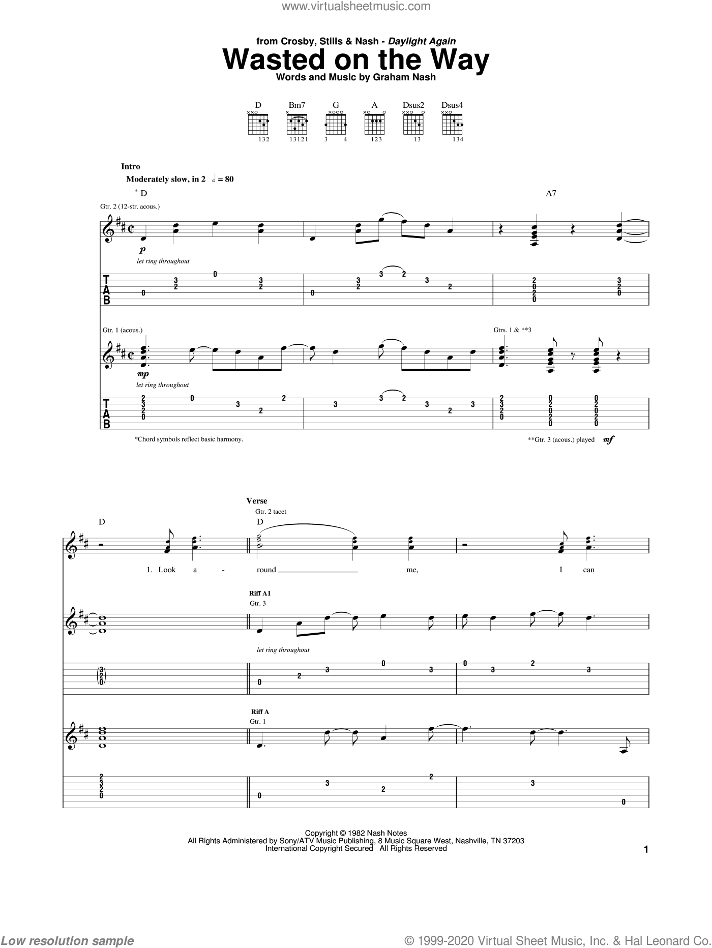 Wasted On The Way sheet music for guitar (tablature) by Crosby, Stills & Nash and Graham Nash. Score Image Preview.