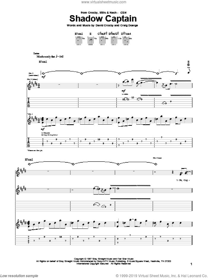 Shadow Captain sheet music for guitar (tablature) by David Crosby