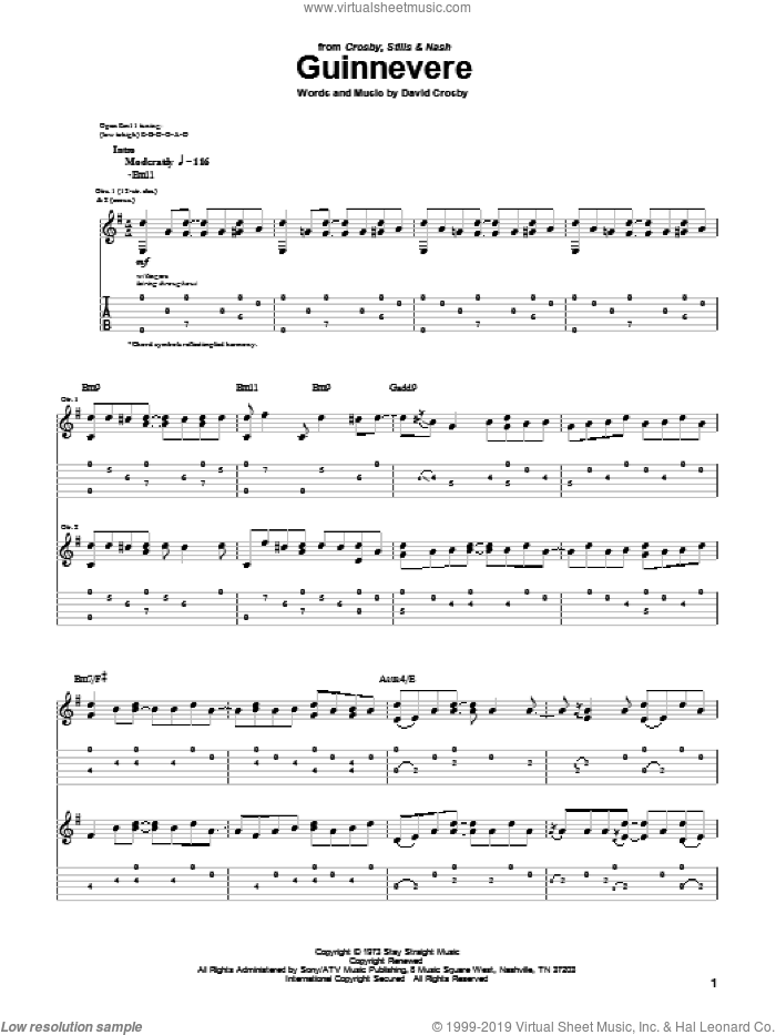 Guinnevere sheet music for guitar (tablature) by David Crosby and Crosby, Stills & Nash. Score Image Preview.