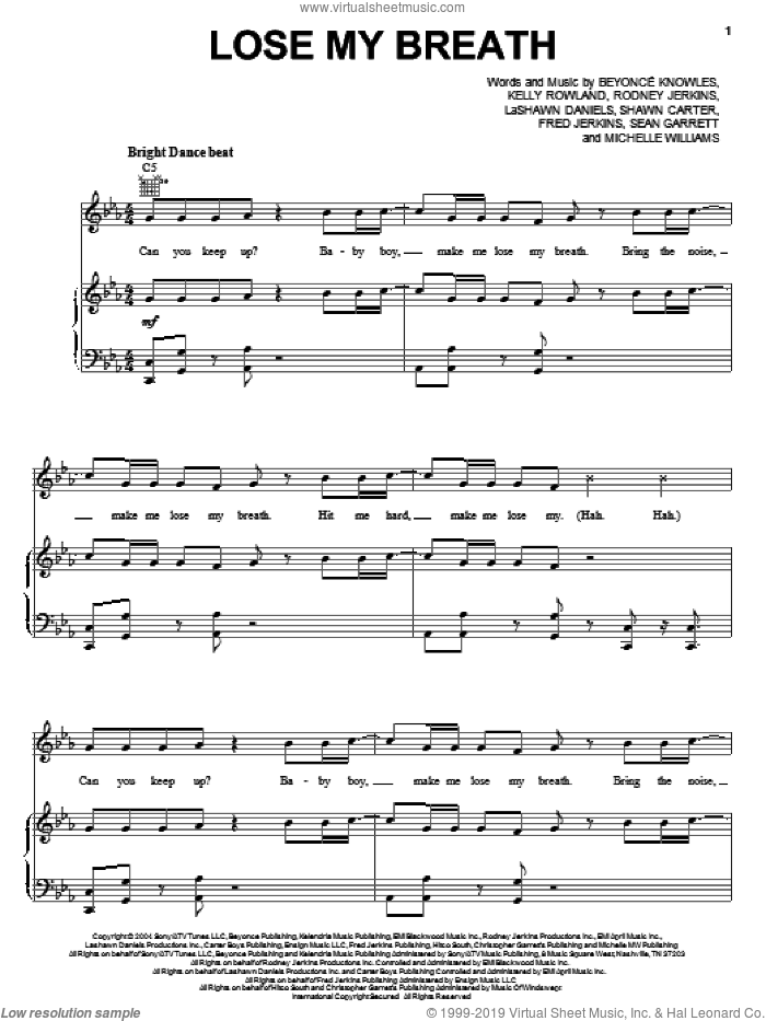 Lose My Breath sheet music for voice, piano or guitar by Shawn Carter, Beyonce Knowles, Kelly Rowland, LaShawn Daniels, Michelle Williams, Rodney Jerkins and Sean Garrett. Score Image Preview.