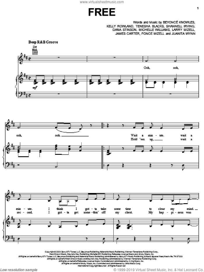 Free sheet music for voice, piano or guitar by Tenesha Blacks, Beyonce Knowles, Kelly Rowland and Michelle Williams. Score Image Preview.