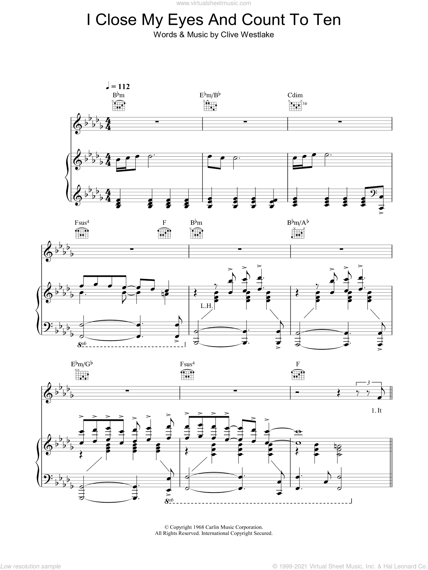 I Close My Eyes And Count To Ten sheet music for voice, piano or guitar by Dusty Springfield and Clive Westlake, intermediate. Score Image Preview.