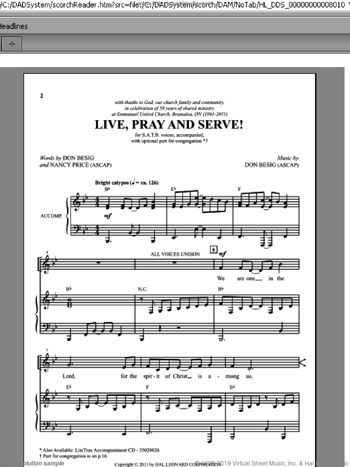 Live, Pray And Serve! sheet music for choir (SATB: soprano, alto, tenor, bass) by Don Besig and Nancy Price, intermediate. Score Image Preview.