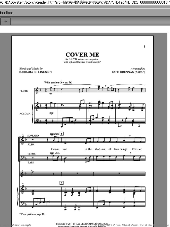 Cover Me sheet music for choir and piano (SATB) by Barbara Billingsley