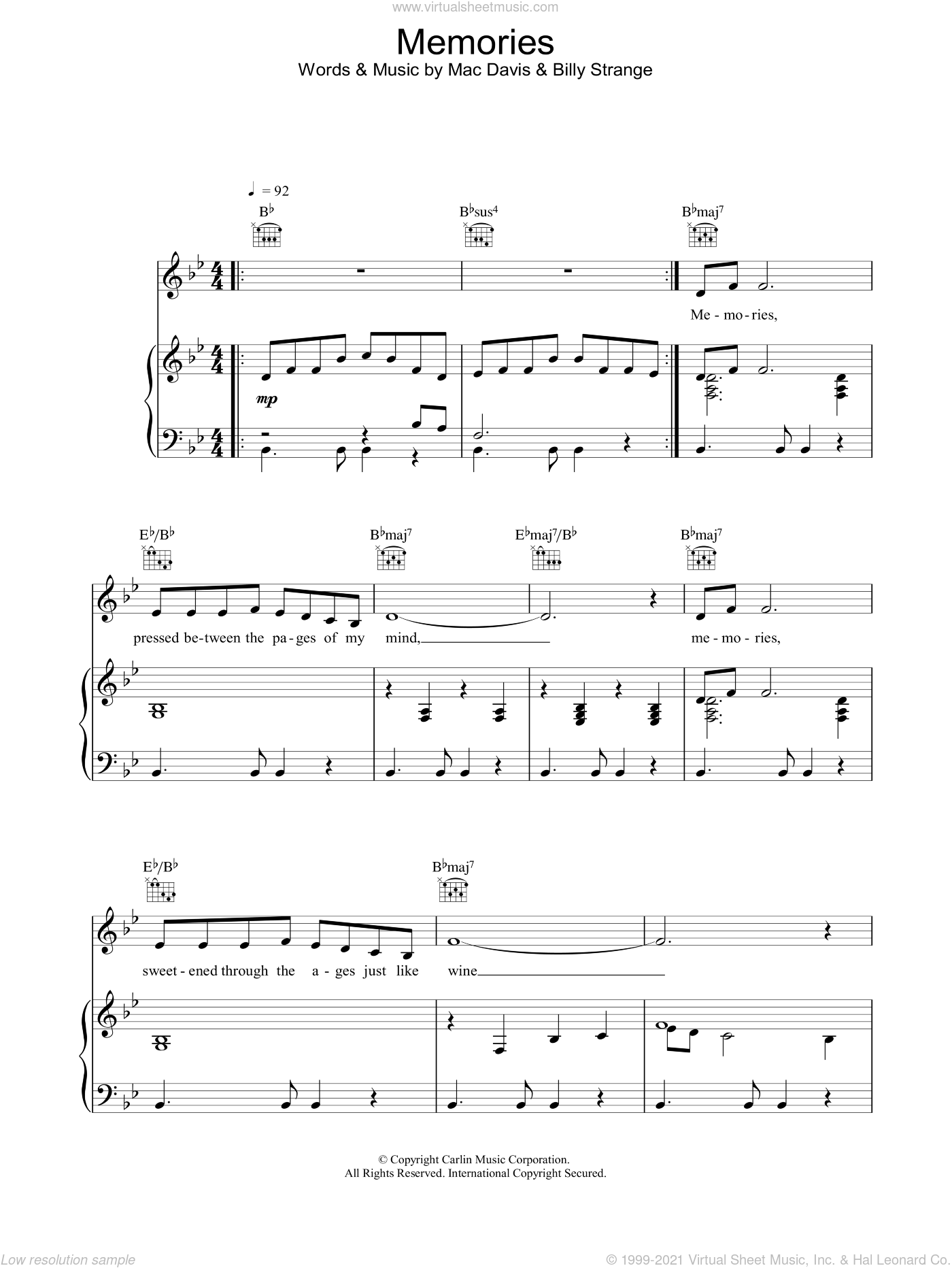 Memories sheet music for voice, piano or guitar by Mac Davis