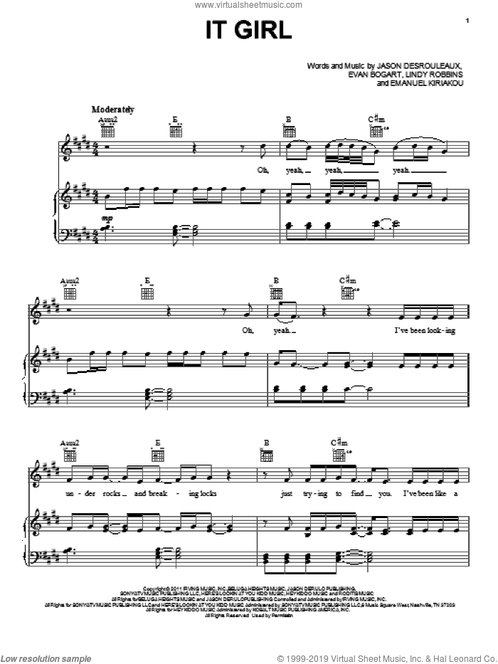 It Girl sheet music for voice, piano or guitar by Jason Derulo, Emanuel Kiriakou, Evan Bogart, Jason Desrouleaux and Lindy Robbins, intermediate skill level