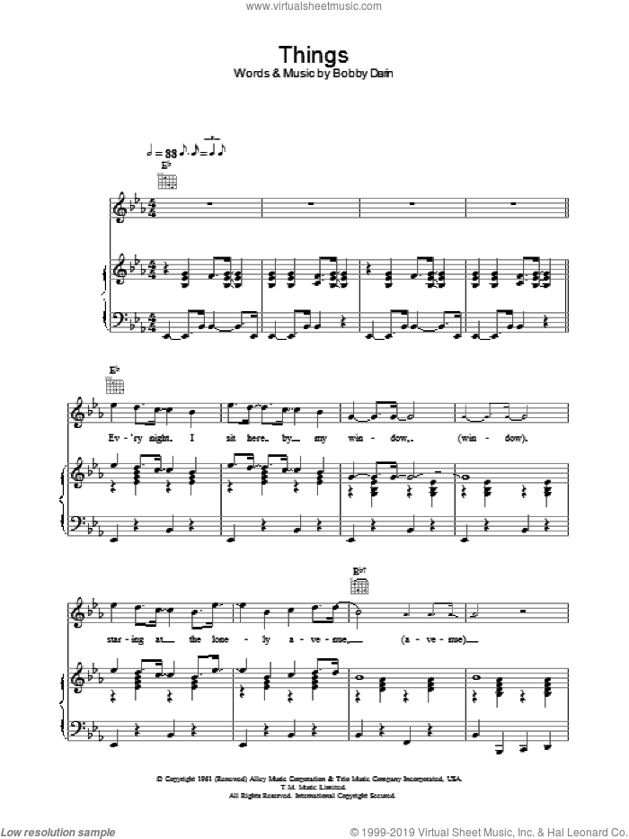 Things sheet music for voice, piano or guitar by Bobby Darin and Robbie Williams, intermediate voice, piano or guitar. Score Image Preview.