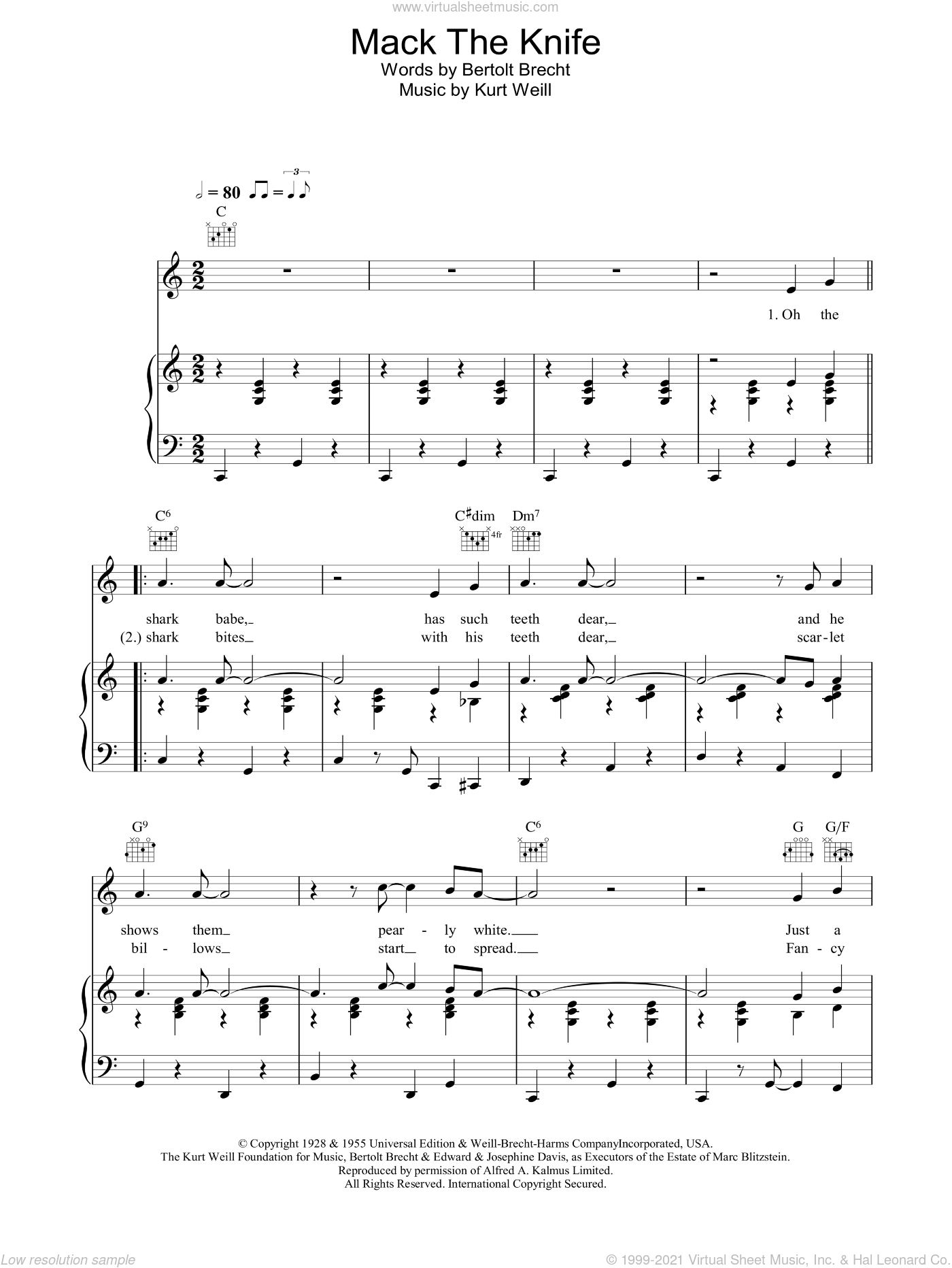 Mack The Knife sheet music for voice, piano or guitar by Bobby Darin, Bertolt Brecht and Kurt Weill, intermediate skill level